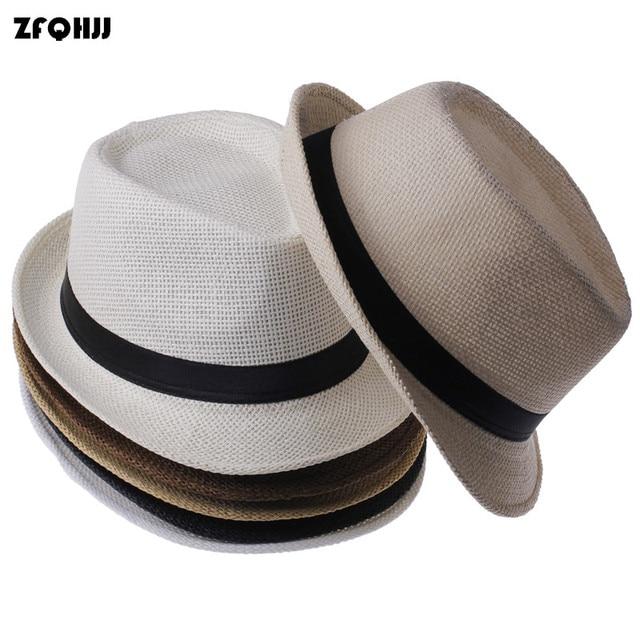a99434fe85e9a ZFQHJJ Fashion Unisex Fedora Straw Hat Spring Summer Panama Kentucky Derby  Beach Hats for Women Men