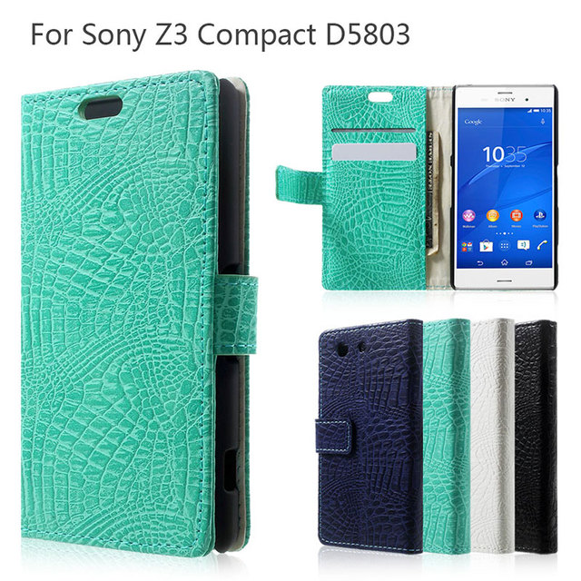 For Sony Z 3 Compact Phone Bag 4.6-inch Crocodile Skin Flip Wallet Leather Case Cover for Sony Xperia Z3 Compact D5803 M55w