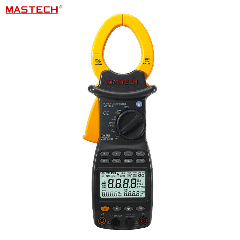 Digital Power Clamp Meter 3 Phase Harmonic Tester RS232 Interface MASTECH MS2205 mastech ms2208 harmonic power factor clamp meter tester multimeter dmm mastech
