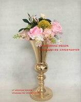 10pcs/lot gold wedding table metal centerpiece european style flower pillar flower vase for wedding decoration 39cm tall