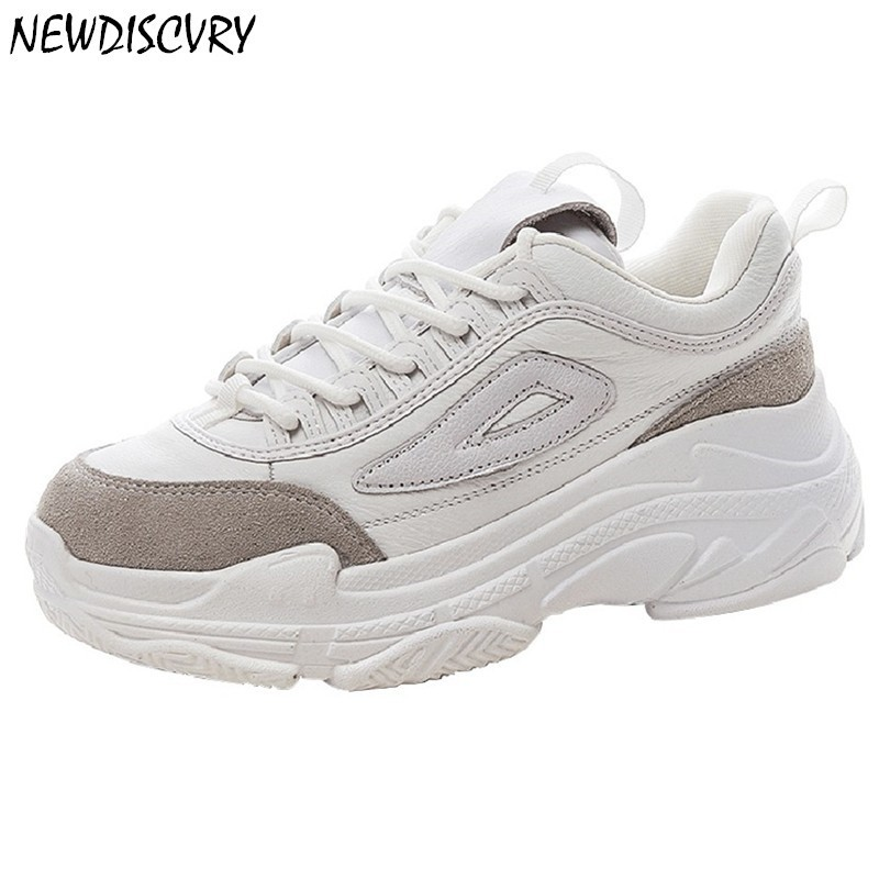 NEWDISCVRY Leather Women White Platform Chunky Sneakers 2018 Fashion Breathable Women s Dad Shoes Casual Woman