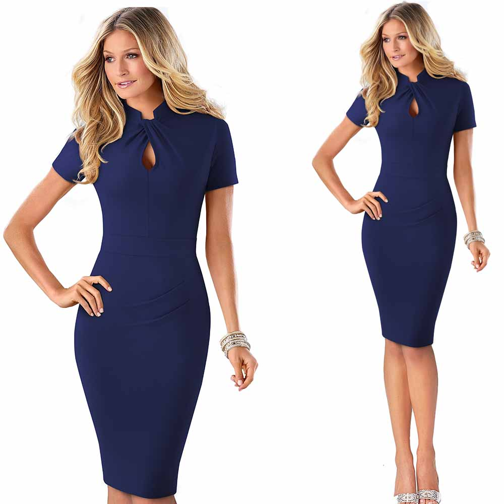 Elegant Work Office Business Drapped Contrasting Bodycon Slim Pencil Lady Dress Women Sexy Front Key Hole Summer Dress EB430 51