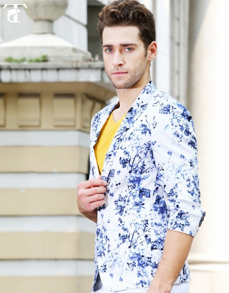 2017 Design Mens Brand Blazer Jacket Slim Fit Stylish printing 100% - Pakaian lelaki - Foto 1