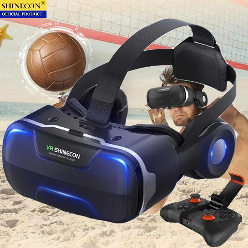 Blu-ray Vr Virtual Reality 3D Kacamata Kotak Stereo Vr Google Cardboard Headset Helm untuk IOS Android Smartphone,Bluetooth Rocker