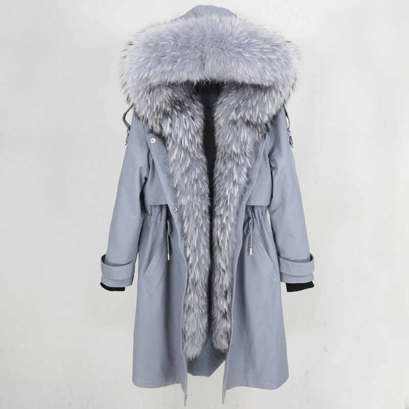 Long Parka 2019 Real Fur Coat Winter Jacket Women Natural Raccoon Fur Collar Hood Real Rex Rabbit Fur Liner Detachable Luxury
