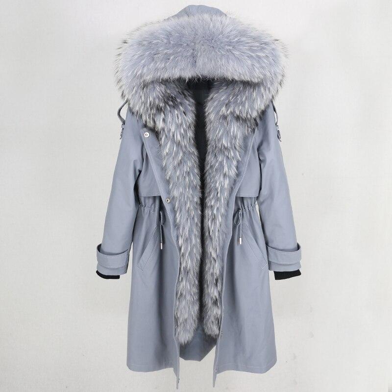 Long Parka 2019 Real Fur Coat Winter Jacket Women Natural Raccoon Fur Collar Hood Real Rex Rabbit Fur Liner Detachable Luxury