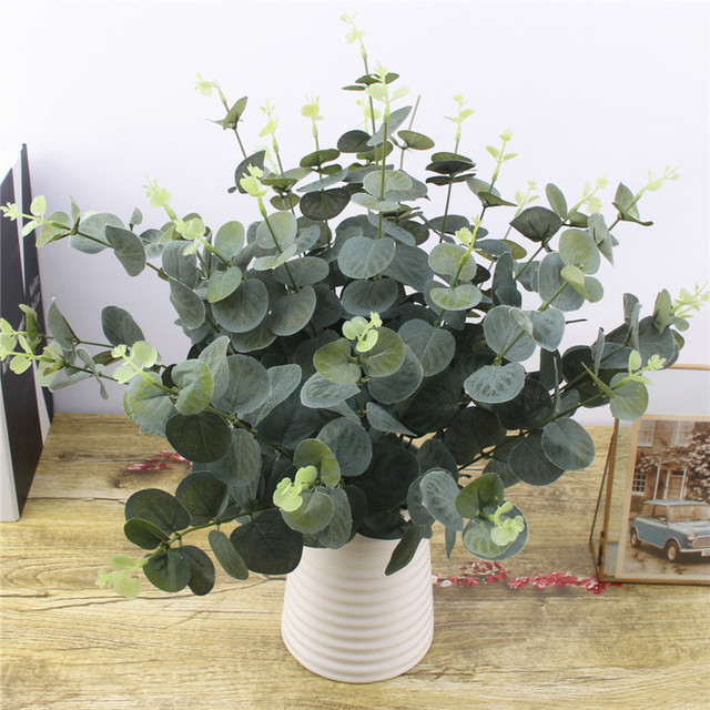 Green Artificial Leaves Large Eucalyptus Leaf Plants Wall Material Decorative Fake Plants For Home Shop Garden Party Decor 42cm