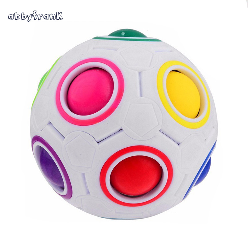 Abbyfrank Antistress Cube Rainbow Ball Spherical Football Cube Puzzle Educational Toys For Children Adult Novelty Magic Cube