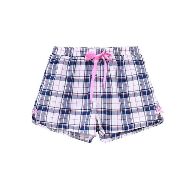 CILER New Shorts Women Plaid Print Short Femme 100% Cotton  Loose Casual Thin Casual High Waist Ribbons Feminino