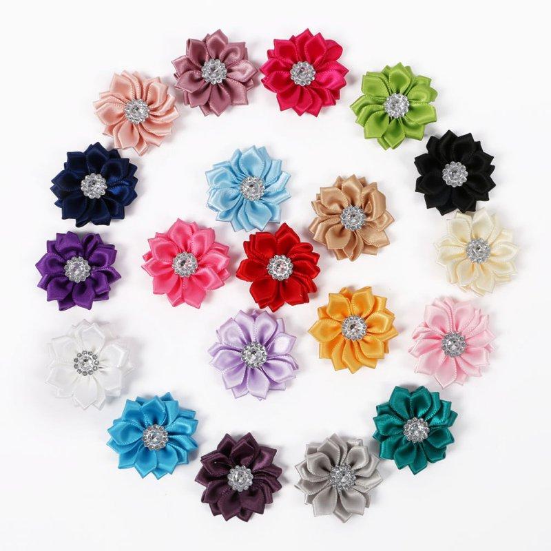 20 PCS/SET Satin Flower WITHOUT Clip Fabric Flower Rhinestone Baby Girls Headbands Appliques Garment Accessories