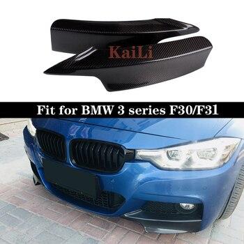 цены 3 Series Carbon Fiber Front Bumper Splitters Lip Flaps for BMW F30 F31 M Sport Sedan 4 Door 13-17 320i 325i 328i 2015+