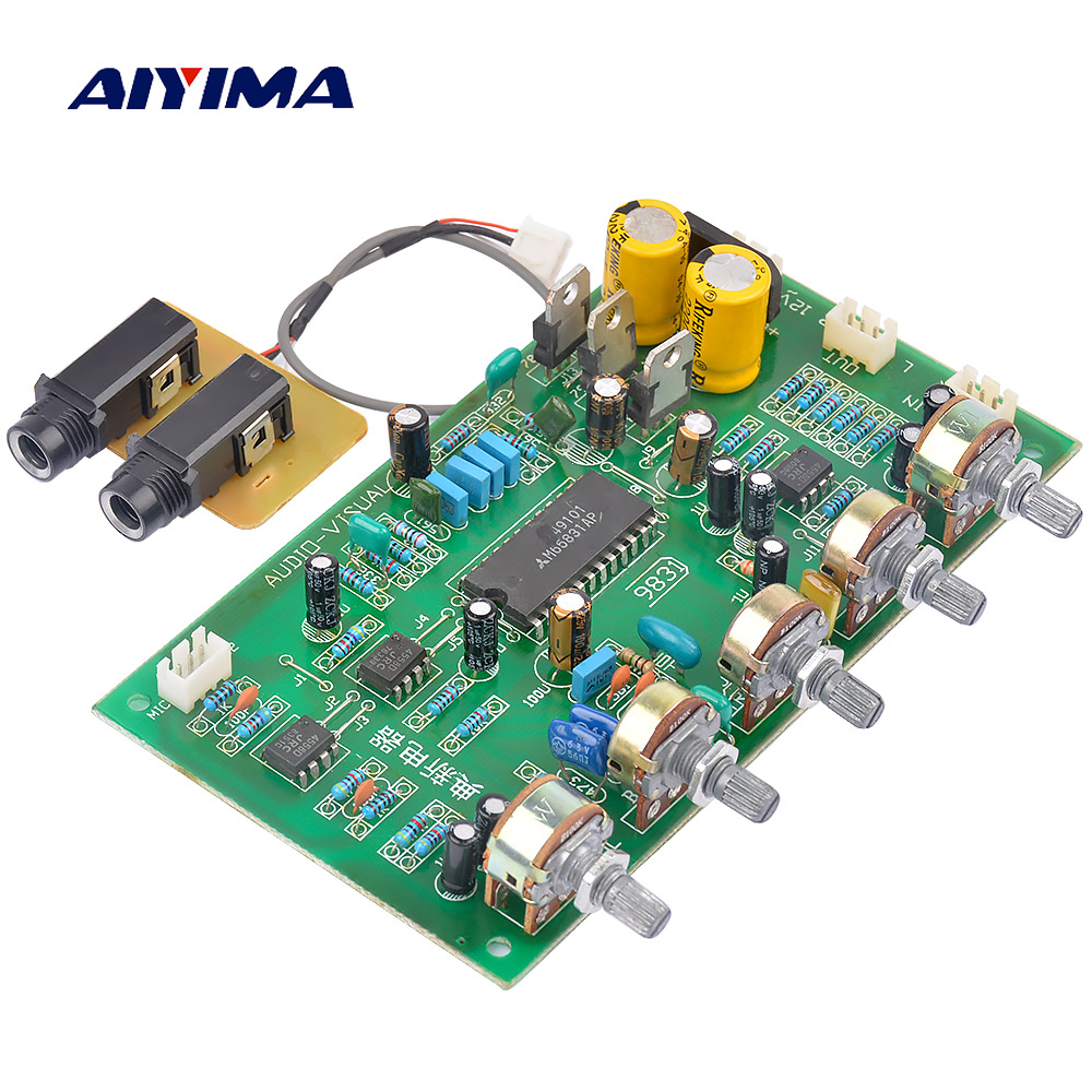 AIYIMA 2,0 Karaoke de mezclador de Audio tablero amplificador HIFI Digital M65831 amplificador de potencia de Audio Preamp con Control de tono