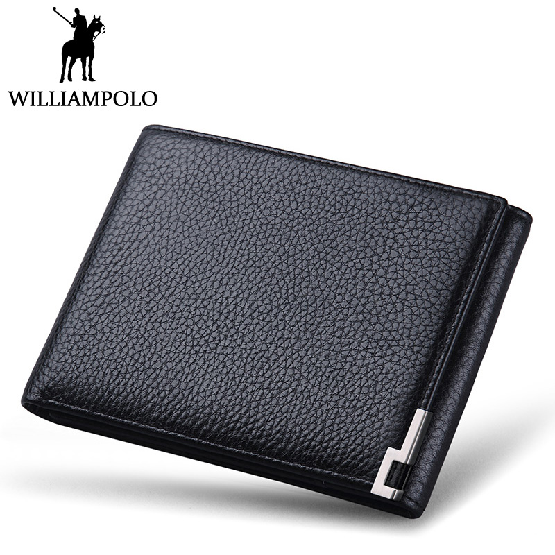 b26ccbe22795 WILLIAMPOLO Trifold Wallet Foldable Short Men's Wallet Genuine Leather  Purse Black Brown Coin Pocket Card Holder Fashion 3 Folds