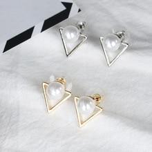 2019 Hot Sale Trendy Nickel Free Earrings Fashion Jewelry Pearl For Women Brincos Oorbellen Cute Triangle Stud