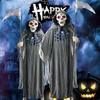 Хэллоуин Анимированные реквизит Grim Reaper призрак размахивая серп электрические игрушки качели левый и правый Хэллоуин украшения ужас призра