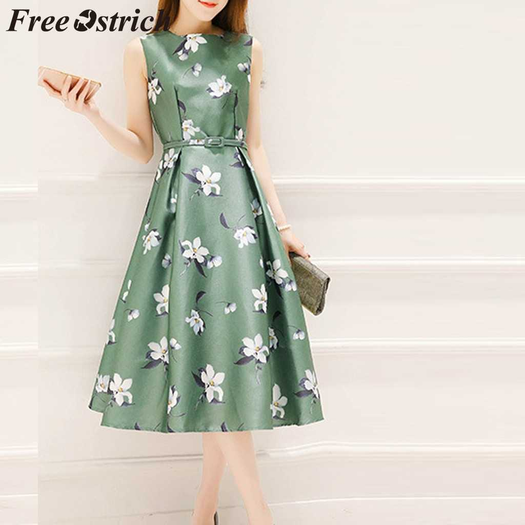 FREE OSTRICH Dress Women Sleeveless Print Belt O-Neck A-Line Mid-Calf Cute Green Current Elegant Graceful Long Dress Summer