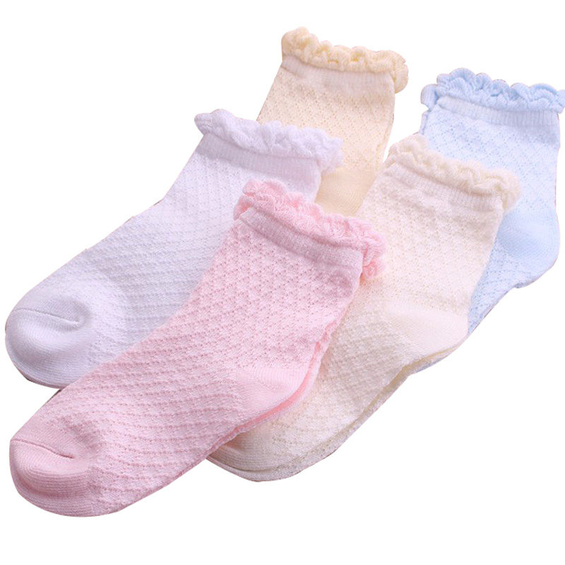 5 pairs / lot 2017 new Spring / Summer Cotton Lace cute children socks 1-12 year girls socks for girls ...