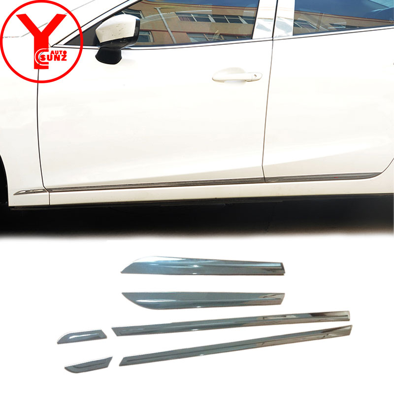 side door trim For Mazda 3 Axela sport 2017 ABS side door molding body cladding trim exterior car accessories deflectors YCSUNZ 4pcs abs exterior lower side door