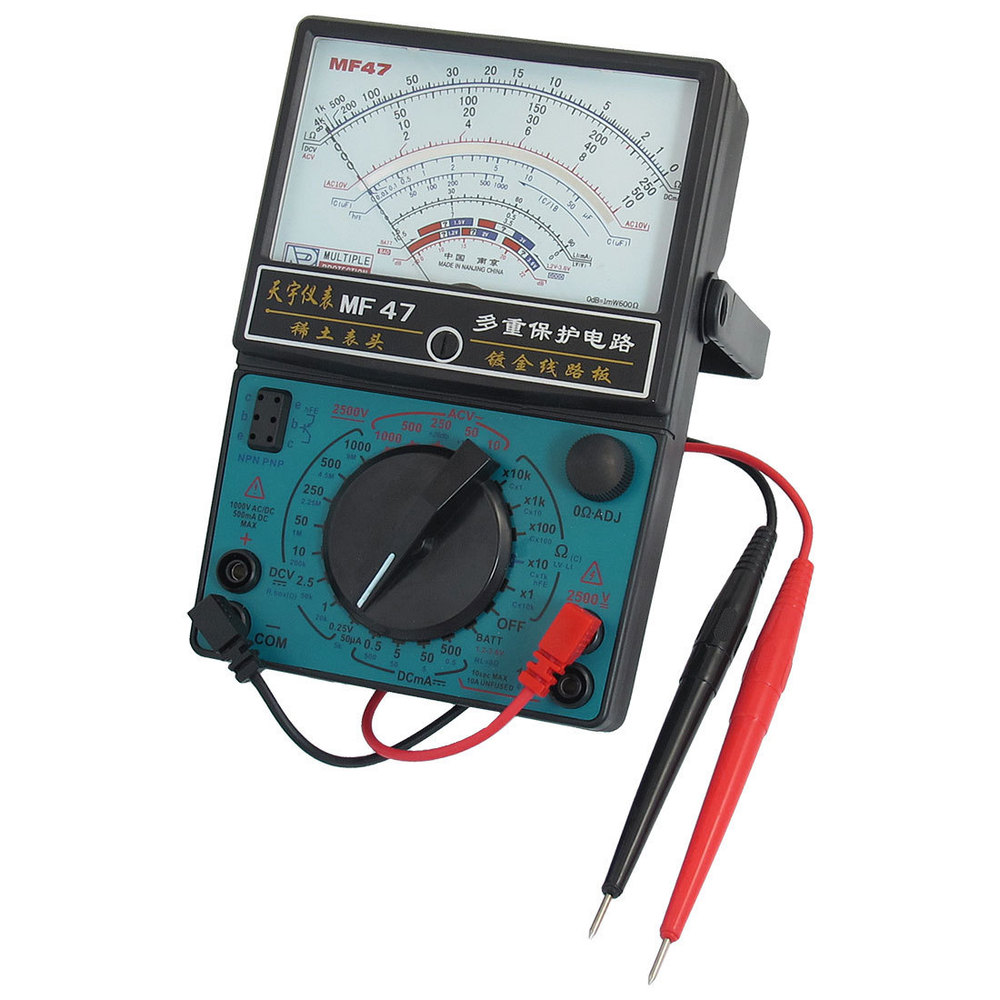 MF47 50uA-500mA DC AC Voltmeter Ohmmeter Ohm Amp Analog Multimeter w Probe Leads мультиметр multimeter 5818 ac dc w