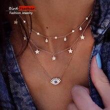 Gold color Choker Necklace for women Long eye Tassel Pendant Chain Necklaces & Pendants Laces velvet chokers Fashion Jewelry