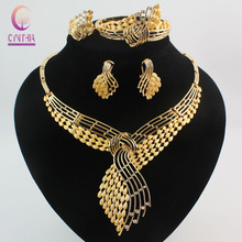 Fashion African Costume Jewelry Sets gold color Rhinestone Wedding Women Bridal Accessories nigerian Necklace Party Set