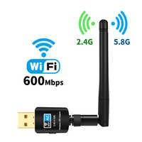 Offre spéciale 600 Mbps USB Wifi adaptateur 5.8 GHz + 2.4 GHz USB Wifi récepteur sans fil carte réseau usb wifi haute vitesse antenne Wifi adaptateur