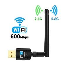 Receptor de Wifi USB, tarjeta de red inalámbrica, adaptador de antena de alta velocidad, 600Mbps, adaptador Wifi USB, 5,8 GHz + 2,4 GHz, gran oferta