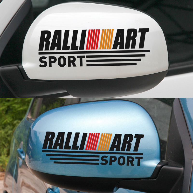 1 Pair Customizable RALLIART Rearview Mirror Stickers Decal Car-Styling For mitsubishi lancer ex asx outlander car accessories high quality linen universal car seat covers for mitsubishi asx lancer sport ex zinger fortis outlander car accessories styling
