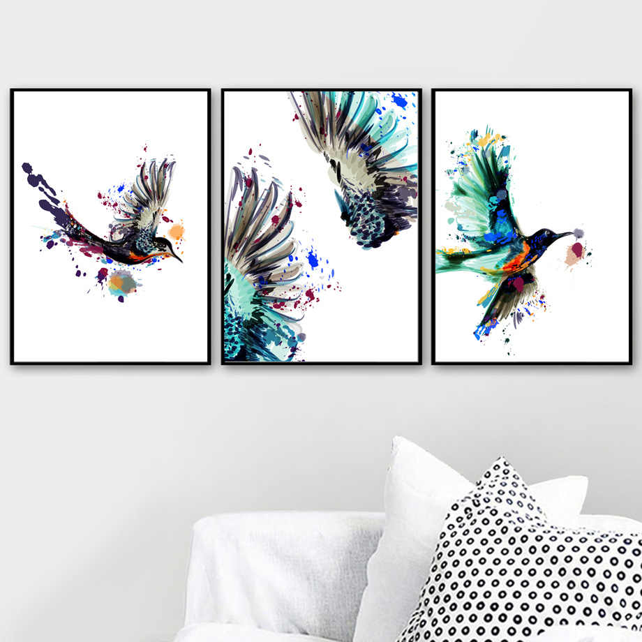 Watercolor Hummingbird Bird Wall Art Canvas Painting Nordic Posters And Prints Pop Art Wall Pictures For Living Room Home Decor