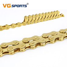 VG Sports F80 Bicycle Chain Gold 8 Speed 116L Bike Chain 24 Speed Solid Paltes Mountain Road Bike Chains 8S Ultralight 309g Box vg sports 6 7 8 speed bike chain mtb mountain road folding bike bicicleta parts steel solid chain bicycle replacement 116 link