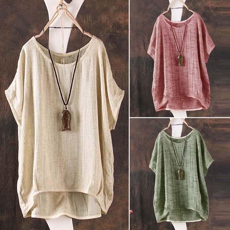 2018 Summer Women Blouses Cotton Linen Tops Loose Casual Shirt Plus Size