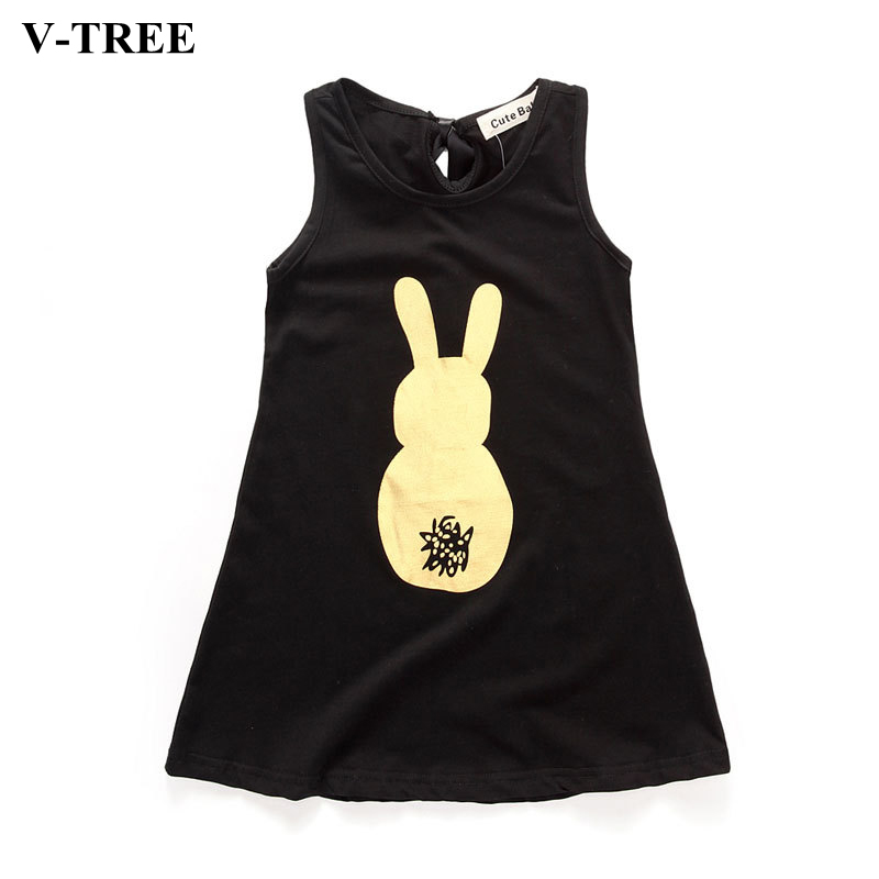 V-TREE Gold Bunny Sleeveless Dress For Baby Girl Summer Girls Party Dresses Kids Costume Infant Clothes Clothing For Toddler