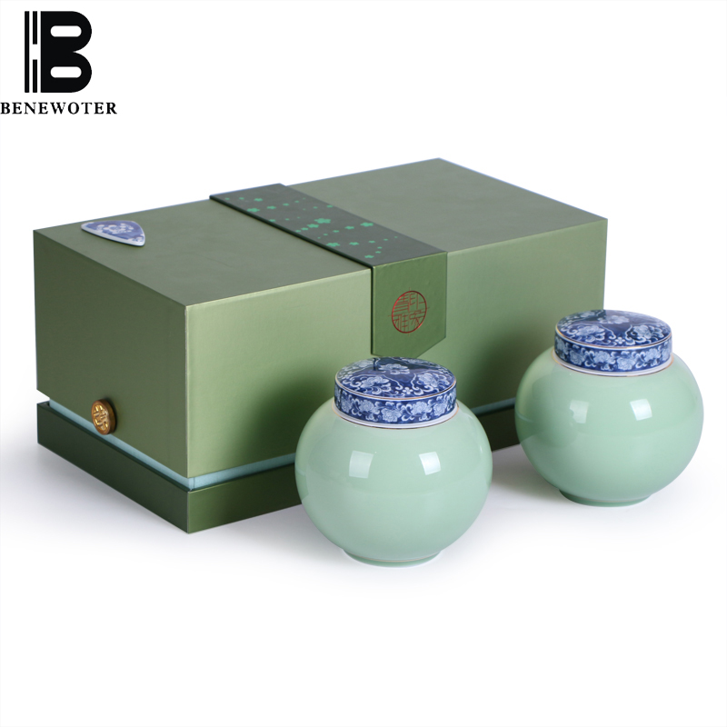 Chinese Celadon Tea Caddy Kung Fu Tea Set Ceramic Tea Cans Candy Storage Bottles Spice Seasoning Sealed Canister Home Decor Gift