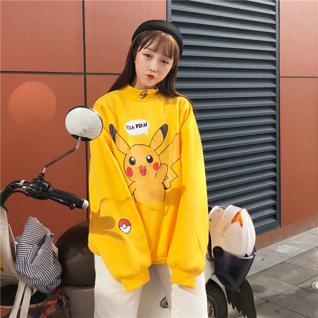 2018 New Women Japanese Pikachu Print Pullover Jumper Streetwear Ulzzang BF Harajuku Kawaii Casual Sweatshirt Pink Oversize Tops