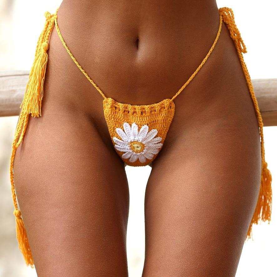 New Arrival Handmade Crochet Flower Micro Bikini G Thong String Beach Micro Swimwear Sexy Lingerie Sets 2019 5