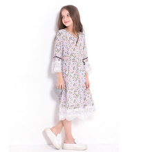 Children Dress Teenage Girls Clothing 10 11 12 14 years Causal Floral Print Lace Dress Tennage Girl Summer Autumn Girl Dress