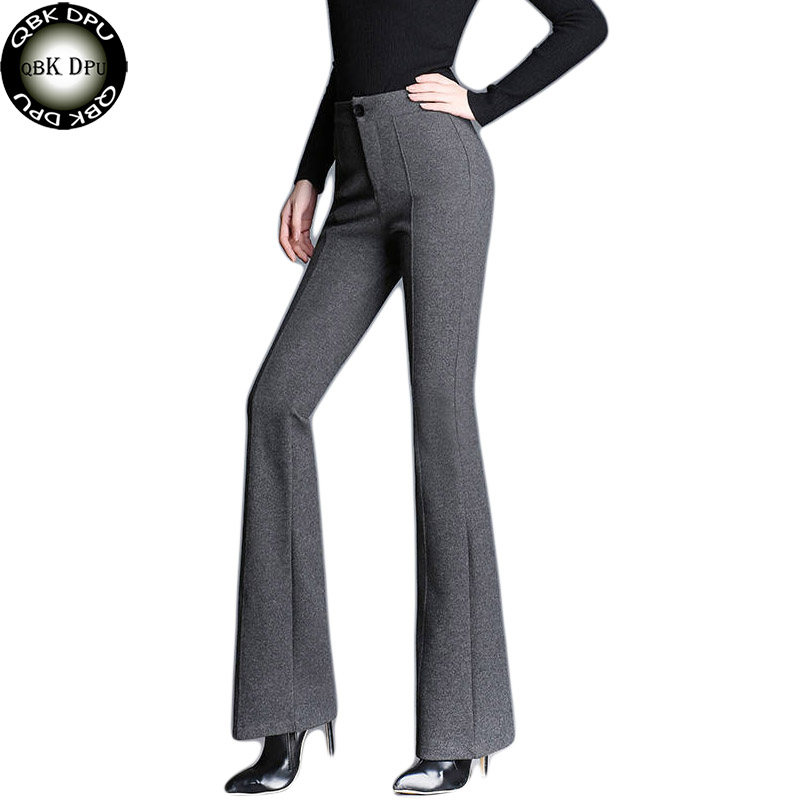 Black Vintage Solid Contrast High Waist Flare Leg Female Elegant Bell Bottom Pants Summer Office Lady Workwear Women Trousers