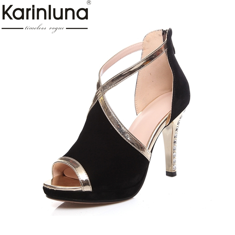 цены KARINLUNA 2018 Fashion cross-strap High Heel Platform Summer Sandals Woman Open Toe Heel Shoes Office Date Ladies Footwear