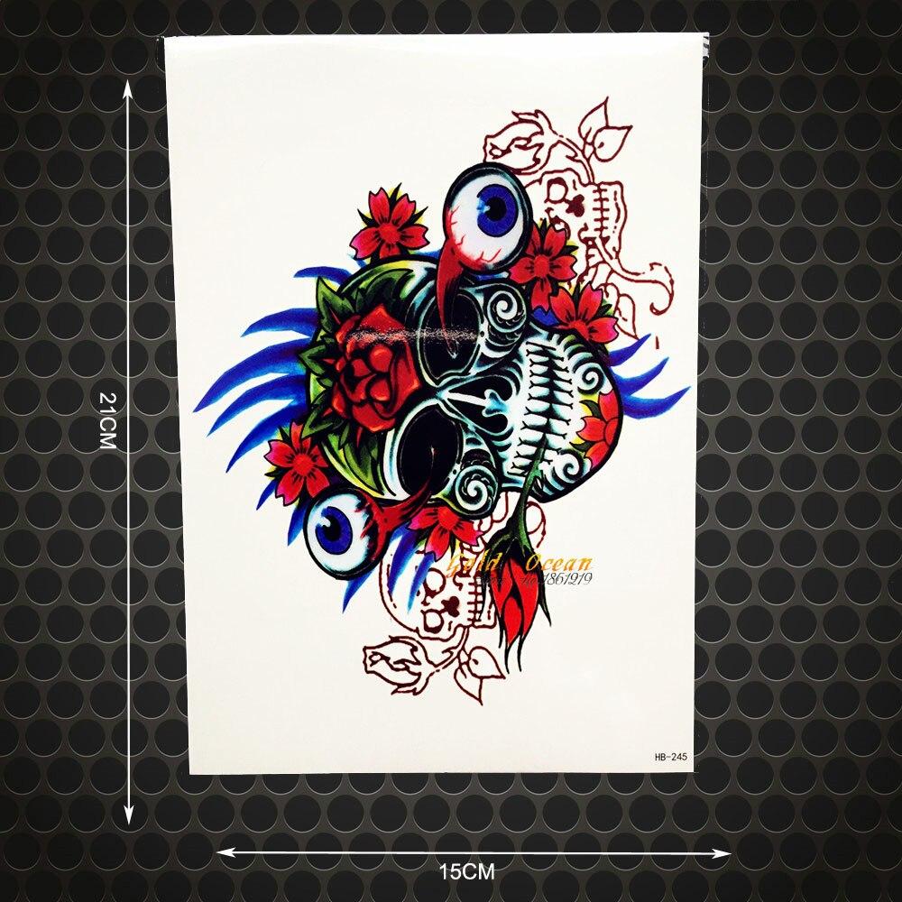 Henna Eye Tattoo: 1PC Henna Skull Eye Temporary Tattoo Stickers Men Body Art
