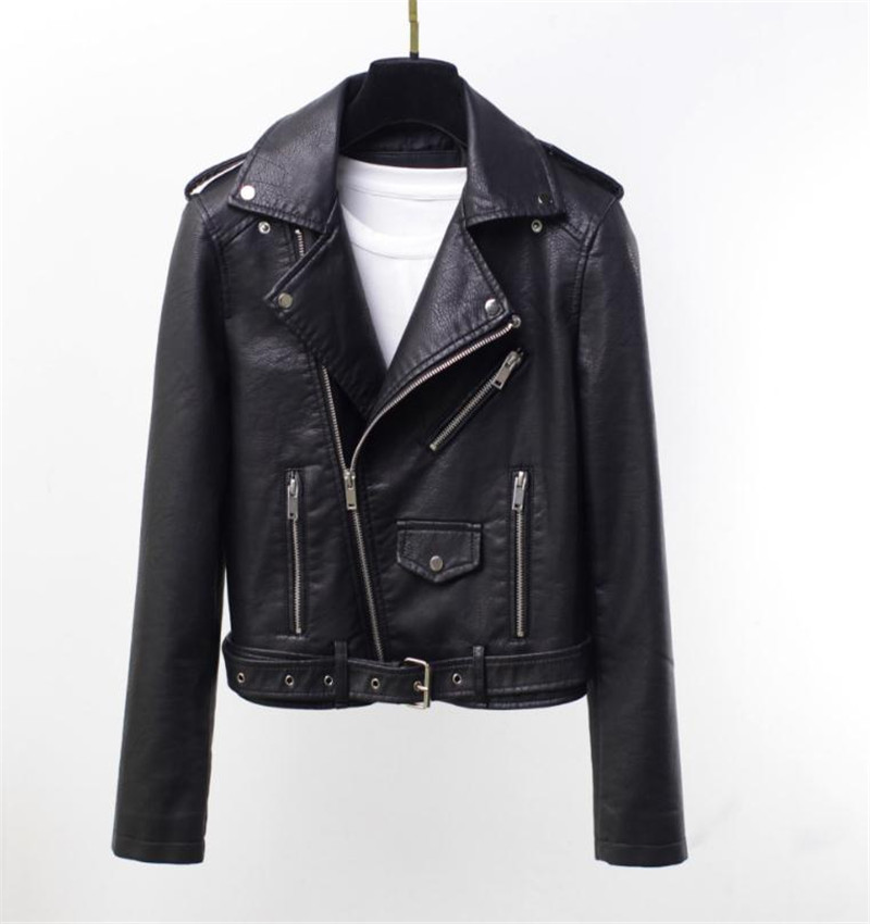 Pu   Leather   Jacket Coats For Japanese and Korean Fashionable Hitch Locomotive New Spring and Autumn Style Short Lapel Zipper PU