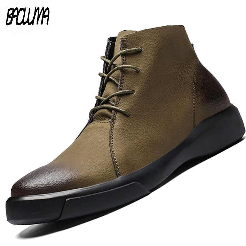 Зимние мужские ботинки; теплые зимние ботинки; Мужская водонепроницаемая обувь; кожаная Рабочая обувь; мужские уличные кроссовки; резиновые мужские ботильоны