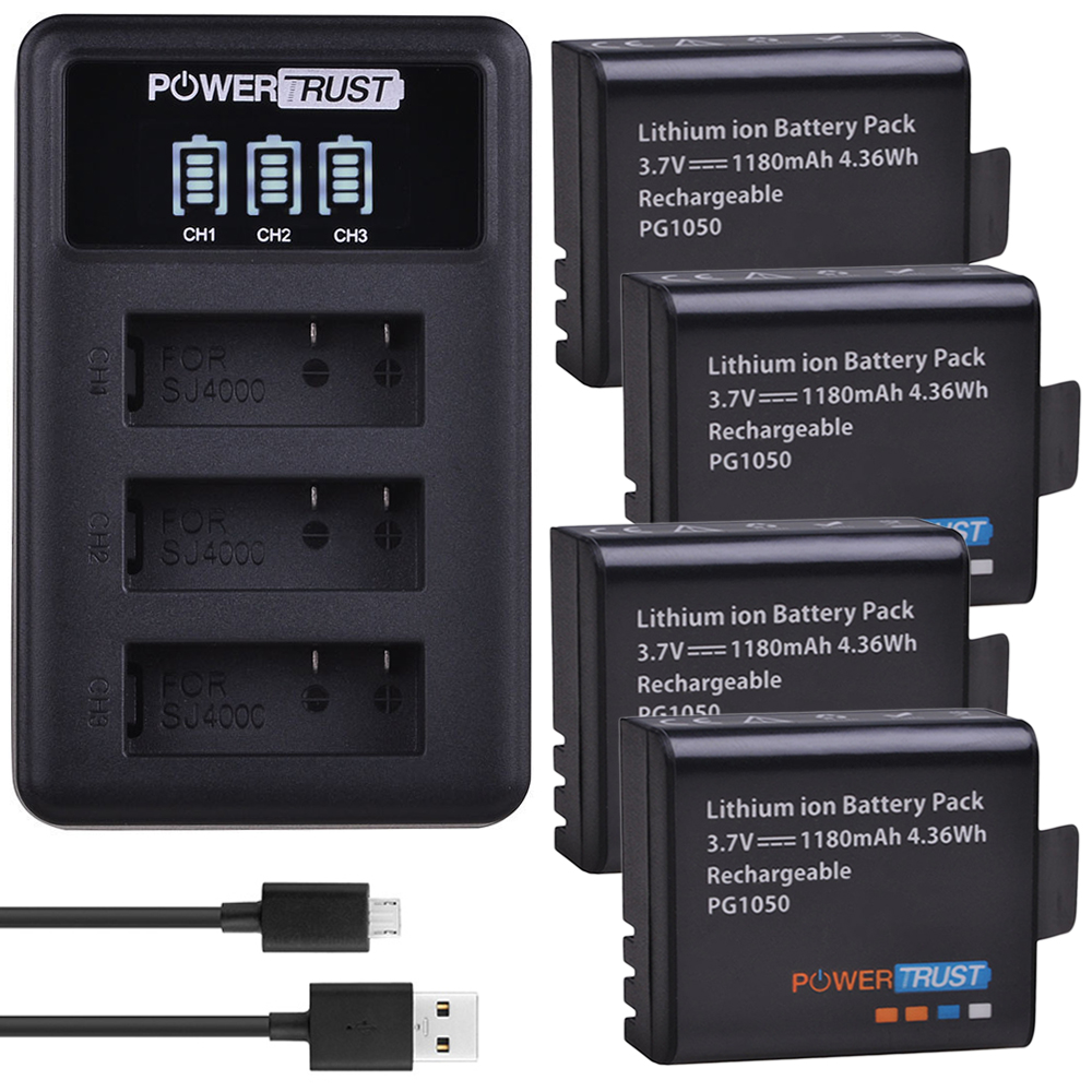 4 шт. 1180 мАч PG1050 батарея + LED 3 слота USB зарядное устройство для SJCAM SJ4000 M10 SJ5000 SJ5000X для EKEN H9 H9R H8R H8 GIT PG900