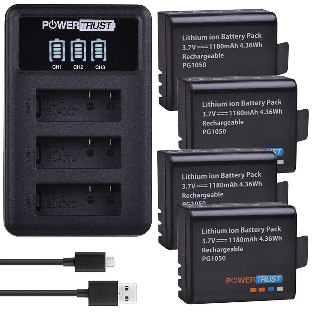 4 pz 1180 mah PG1050 Batteria + LED 3 Slot del Caricatore del USB Per SJCAM SJ4000 M10 SJ5000 SJ5000X Per EKEN h9 H9R H8R H8 GIT PG900
