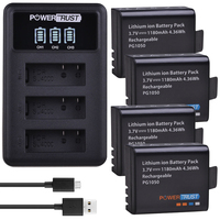 4Pcs 1180mAh Bateria + LED 3 PG1050 Slots Carregador USB Para SJCAM SJ4000 M10 SJ5000 SJ5000X Para EKEN H9 H9R H8R H8 GIT PG900|Baterias digitais|Eletrônicos -