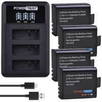 4Pcs 1180mAh PG1050 Battery +LED 3Slots USB Charger For SJCAM SJ4000 M10 SJ5000 SJ5000X For EKEN H9 H9R H8R H8 GIT PG900