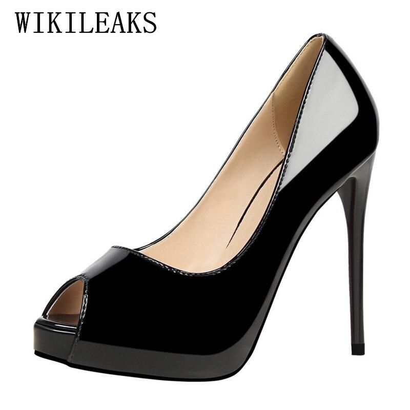 2019 cuero de patente peep toe zapatos de tacón alto zapatos de plataforma de  mujer diseñador c4c0035ad289
