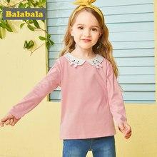 540fa22062ad2 Balabala coton doux dessin animé automne T-shirt pour filles col brodé avec  petit lapin