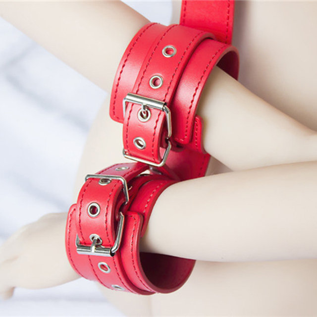 DOMI PU Leather Stainless Steel Buckle Adult Game Fetish Neck Handcuffs Bondage