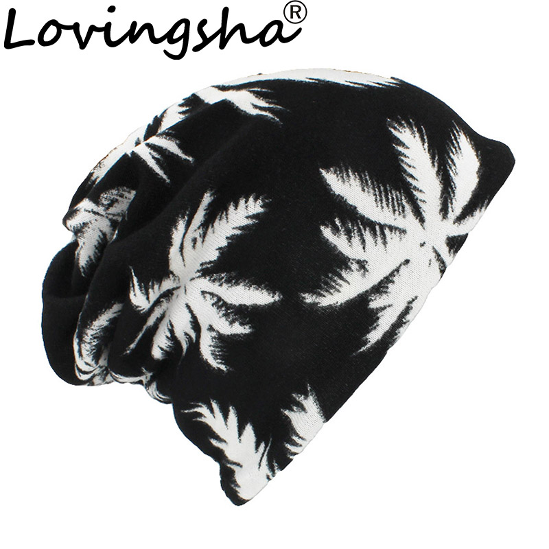 LOVINGSHA Autumn Winter Thin Multifunction Women Skullies Beanies Leaf Design Hats For Men Fashion Feminino Scarf HT111