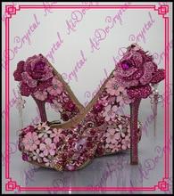 Aidocrystal 2016 Luxus Design Frauen Hochzeit Schuhe Blume Diamant Strass Brautschuhe Prinzessin Plattform High Heels Pumps